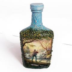Подарок для мужчины рыбака Декор бутылки Заядлому