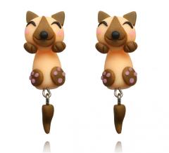 Серьги гвоздики собачки коричневые Детские сережки