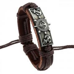 Коричневый кожаный браслет в морском стиле Браслет