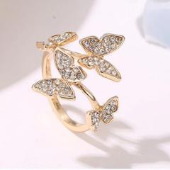 Нежное кольцо Бабочка незамкнутое колечко с