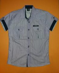Рубашка для мальчика сиреневая на рост 134-140 см.