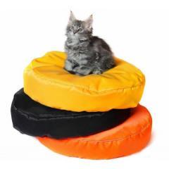 Бескаркасный круглый лежак для котов из ткани