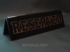 Настільна табличка Reserved чорна