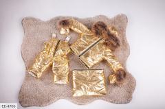 Тройка зимняя комбез с курткой золото SKL11-260883