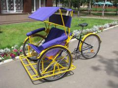 Bicycles. A passenger trishaw with standard