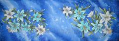 "Palatine batic, natural silk ""Blue Lilies"