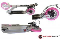 Самакат для взрослых до 140 кг с двумя амортизаторами, рама алюминий, колеса полиуретан 200мм