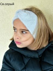 Весенняя повязка на голову Пов'язка дитяча Повязка пушистая для девочки Тюрбан Чалма детская и взрослая