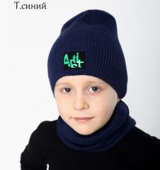 Детскаястильная шапкаодинарной вязки с пришитым ярким логотипом Шапка р.53-56 для детей 3-8 лет