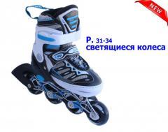 Ролики детские размер S 31-34 Светящиеся колеса. Алюминиевая рама. Улучшенная боковая поддержка ноги
