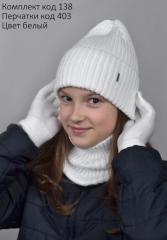 Комплект Шапка с хомутом Рубчик подростковый взрослый унисекс. р.54-57 Разные цвета.
