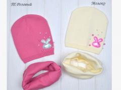 Детская шапка Зайка. Осенняя весенняя демисезонная шапка для девочки 2-7 лет