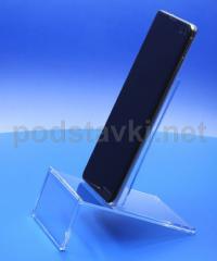 Подставка под смартфон, ценник 80х45 мм, акрил 1.8 мм, габариты (ШхВхГ) 80х109х80 мм (MS-64)