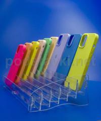 Витринная подставка под чехлы для смартфонов (350 мм)., акрил 3 мм, габариты (ШхВхГ) 367х83х170 мм (MS-81)
