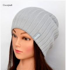 Демисезонная удлиненная шапка двойной вязки в рубчик унисекс, для девочки, для мальчика.Осенняя шапка