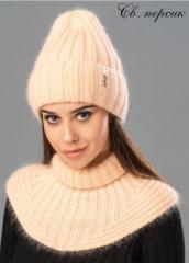 Молодежная зимняя шапка Илона из ангоры премиум качества. Ангоровая шапка с отворотом. Внутри на флисе