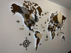 3D LED карта мира в сером и коричневом цветах