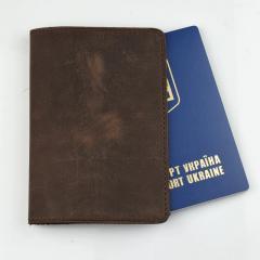 Кожаная обложка для паспорта коричневого цвета