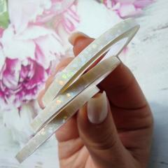 Лента для дизайна ногтей 2мм, белый диамант