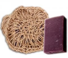 Вязанная натуральная мочалка с мылом винное