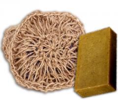 Вязанная натуральная мочалка с мылом Можжевельник,