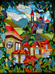 Iffany stained-glass window mosaic sculpture
