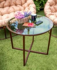 Столик металлический со стеклянной столешницей