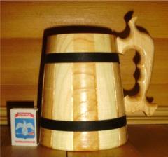 Деревянные бокалы пивные ручной работы