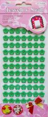 Пуговицы цветочек зеленые 12 мм (2 уд.) на стикере