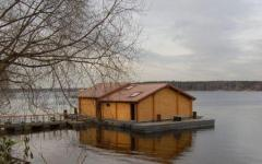 Pontoons for floating houses, baths, dachas, cafe,