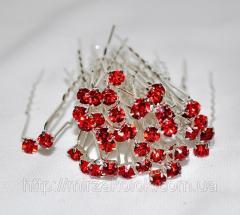 Шпильки для волос с прозрачным,цветным камнем (40