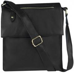 Модная черная женская сумочка - почтальон польский