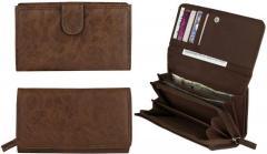 Удобный женский кошелек-клатч коричневого цвета