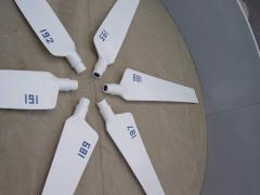Set of fiberglass blades of a dlyarabochy wheel of