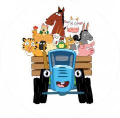 Вафельная картинка синий трактор 2