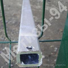 Столб для забора из профильной оцинкованной трубы 40х60х2,0 мм высотой 2,0 м