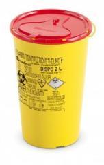 DISPO Контейнер для сбора игл и медицинских отходов емкость 2 л. (Из PP, круглый), шт.
