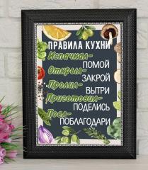 Постер Правила Кухни. Рамка С Правилами Кухни