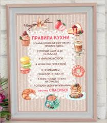 Постер Правила Кухни. Рамка С Правилами Кухни.
