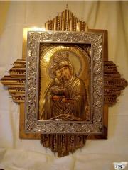Икона Почаевской Божьей Матери (чеканка, булат)