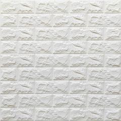 Декоративна 3D панель самоклейка під цеглу Білий