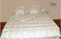 Bedding down pillows, blankets, feather-beds,