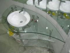 Table-tops under a wash basin glass, Ukraine,