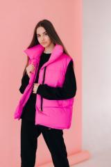 Женская розовая жилетка безрукавка Оверсайз