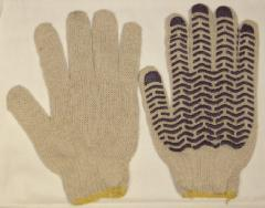 Regular gloves x / with PVC covering (Wave)