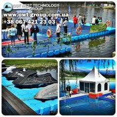Pontoons for exhibitions on water, moorings, piers