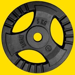 Блин (диск) 5 кг для гантели (штанги) с тройным