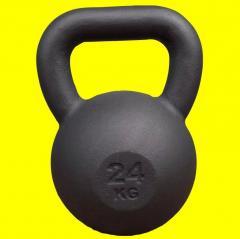 Гиря чугунная 24 кг KingSport черная, гиря для