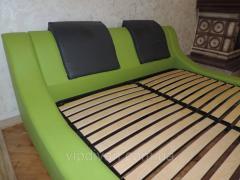 Кожаная мягкая кровать с подъемным механизмом