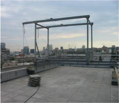 Equipment for washing of windows. A platform roof